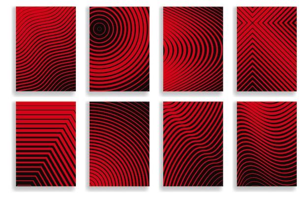 붉은 색의 기하학적 하프톤 디자인이 있는 표지 세트