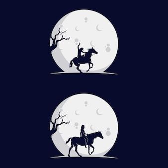 月の馬のシルエットに乗るカウボーイのセット