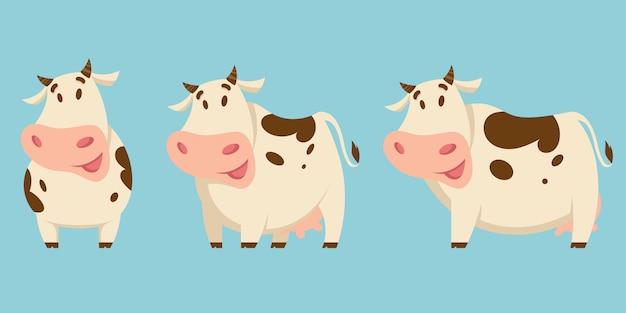 Набор коров в разных позах. сельскохозяйственные животные в мультяшном стиле.