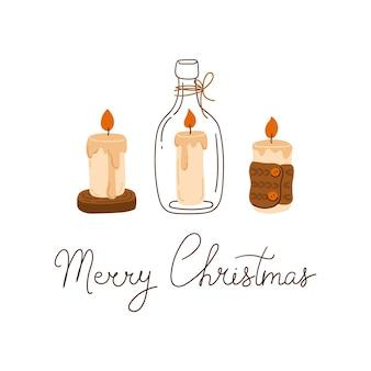 Набор уютных свечей и надписи с рождеством