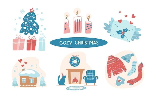 흰색 배경에 고립 된 아늑한 크리스마스 손 그리기 클립 아트 세트