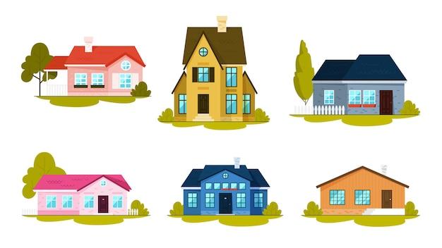 居心地の良い家のセット。シティコテージの建物。アパートのコレクション。町の建築コンセプト。アパートのファサード。図