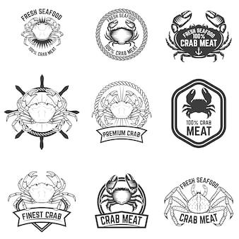カニ肉のラベルのセット。新鮮なシーフード。ロゴ、ラベル、エンブレム、記号の要素。図。