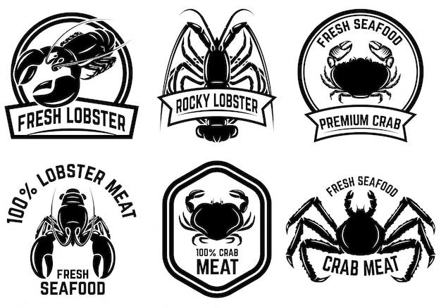 カニ肉、ロブスター肉ラベルのセット。ロゴ、エンブレム、看板、ポスター、バナーの要素。図