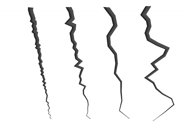 Набор потрескавшихся линий. эффект крушения
