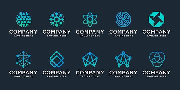 創造的な抽象的なデジタル技術のロゴのセット。ロゴは、テクノロジー、デジタル、接続、電気会社に使用できます。