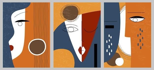 Набор творческих абстрактных геометрических текстурированных портретов. векторная иллюстрация дизайна лица. для открытки, плаката, брошюры, дизайна обложки, сети.