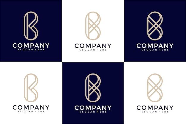 Набор творческих абстрактных букв b коллекции дизайна логотипа