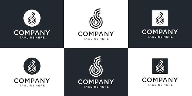 Набор творческих абстрактных букв d технологии логотипа.