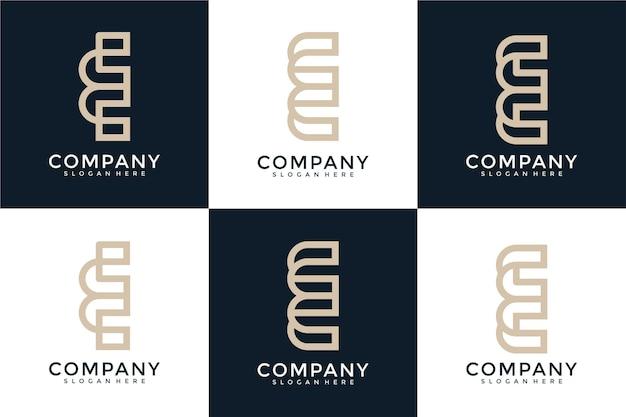 크리에이 티브 추상 문자 e 로고 디자인 컬렉션의 집합