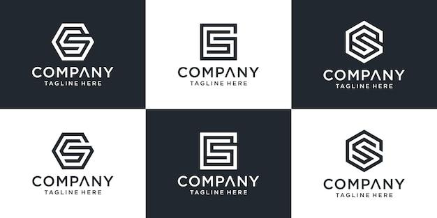 창의적인 추상 편지 gs 로고 디자인 컬렉션의 집합입니다.