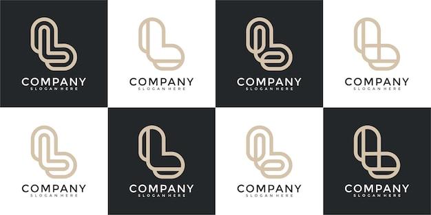 創造的な抽象的な文字lロゴデザインコレクションのセット