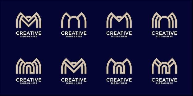 創造的な抽象的な文字mロゴデザインコレクションのセット