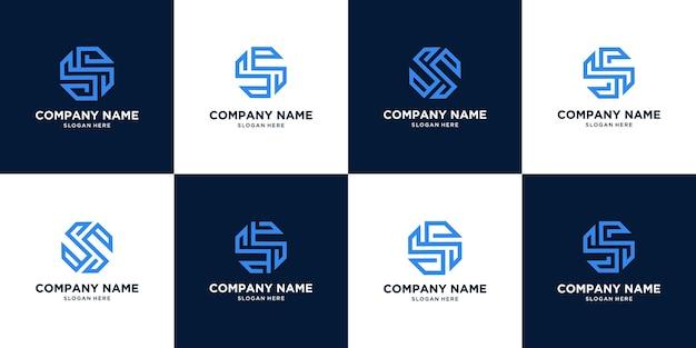Набор творческих абстрактный дизайн логотипа буква s. концепция круга