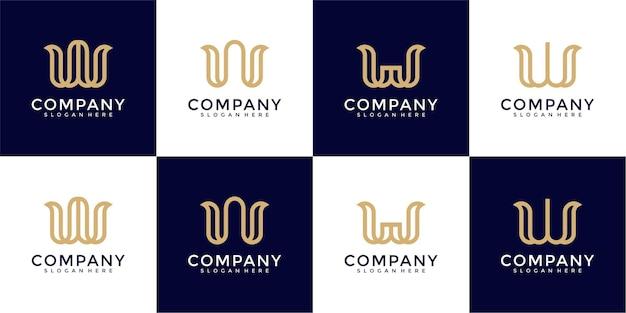 創造的な抽象的な手紙wロゴデザインコレクションのセット