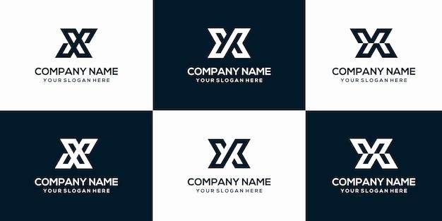 창의적인 추상 문자 x 모노그램 로고 디자인 서식 파일의 설정