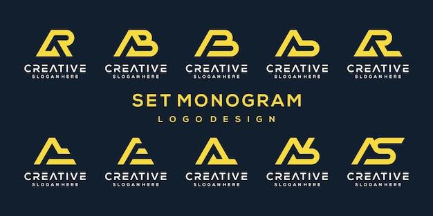 創造的な抽象的なモノグラム文字のロゴデザインテンプレートのセット