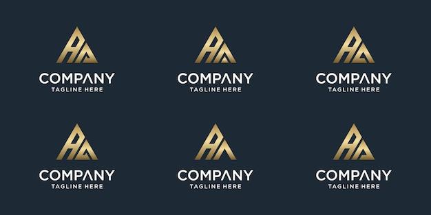 창의적인 추상 모노그램 편지 aa 로고 템플릿 집합입니다. 고급스럽고 우아하고 단순한 비즈니스 로고