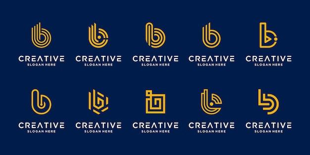 クリエイティブな抽象的なモノグラム文字bロゴデザインコレクションのセットです。