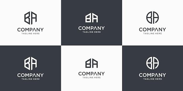 創造的な抽象的なモノグラム文字baロゴデザインテンプレートのセット