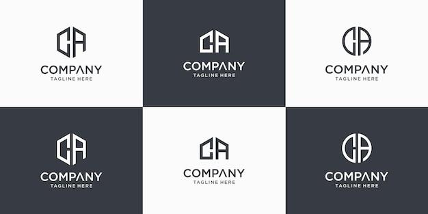 創造的な抽象的なモノグラム文字caロゴデザインテンプレートのセット