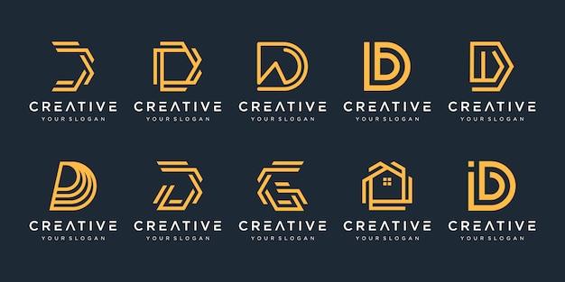 창의적인 추상 모노그램 문자 d 로고 디자인 서식 파일의 집합입니다.