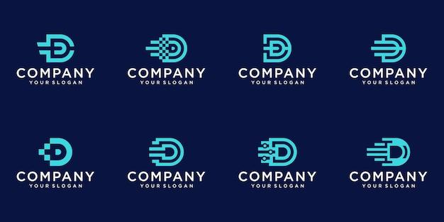 창의적인 추상 모노그램 문자 d 기술 로고 디자인 세트