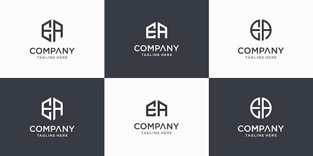 Набор творческих абстрактных монограмм буква еа логотип дизайн шаблона