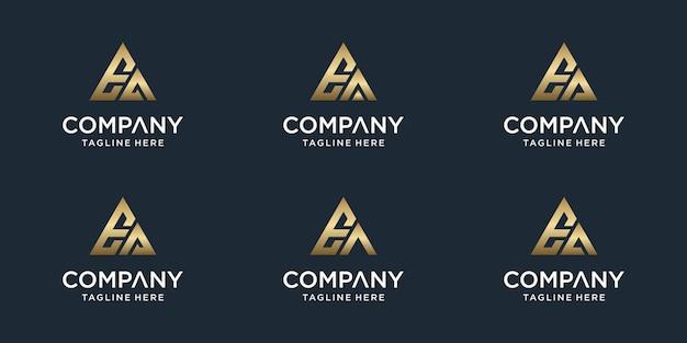 창의적인 추상 모노그램 편지 ea 로고 템플릿 집합입니다. 고급스럽고 우아하고 단순한 비즈니스 로고