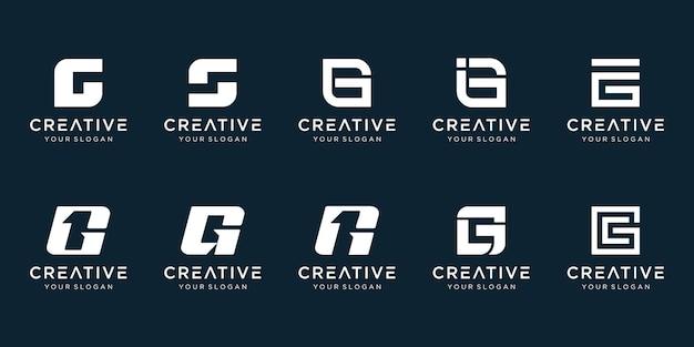創造的な抽象的なモノグラム文字g1ロゴデザインのセットです。