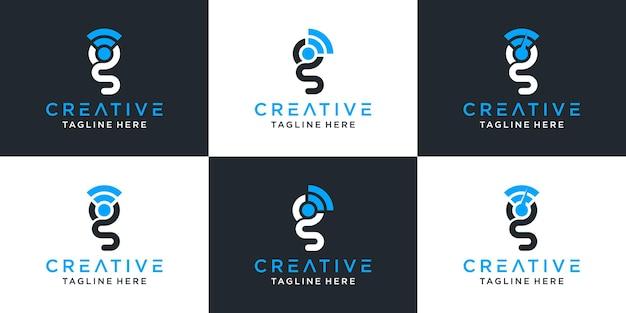 창의적인 추상 모노그램 문자 g 및 신호 로고 디자인 영감 세트