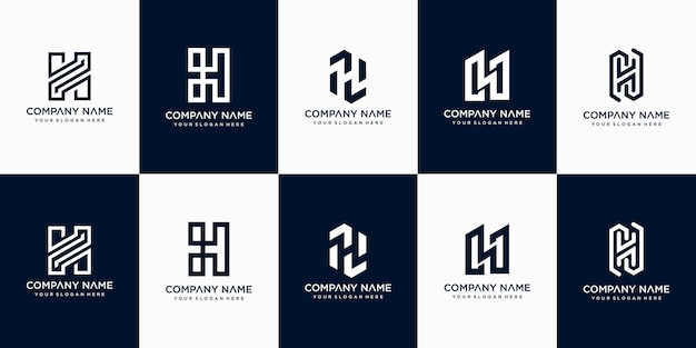 창의적인 추상 모노그램 편지 h 로고 디자인 서식 파일의 설정