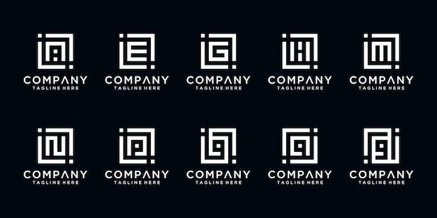 創造的な抽象的なモノグラム文字iなどのロゴデザインテンプレートのセット