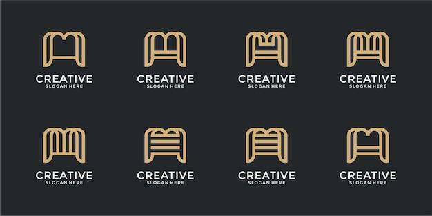 創造的な抽象的なモノグラム文字mロゴデザインのインスピレーションのセット