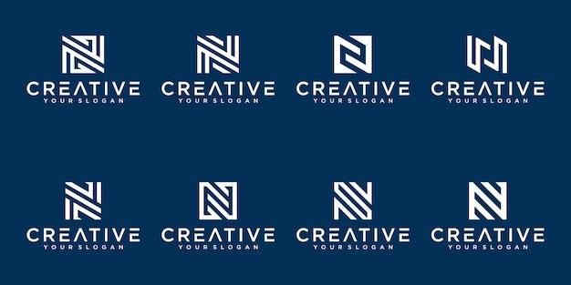 創造的な抽象的なモノグラム文字nロゴデザインコレクションのセット