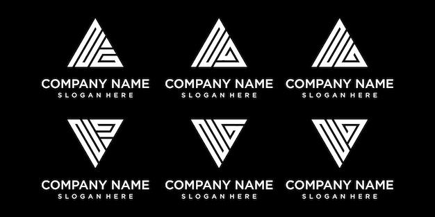 Набор творческих абстрактных монограмм письмо ng шаблон дизайна логотипа