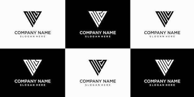 創造的な抽象的なモノグラム文字nvロゴデザインテンプレートのセット