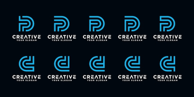 창의적인 추상 모노그램 편지 p와 d 로고 디자인 서식 파일의 설정