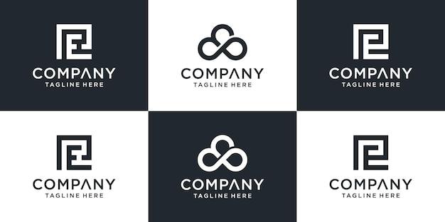 창의적인 추상 모노그램 편지 pe 로고 디자인 영감 세트
