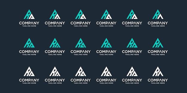 創造的な抽象的なモノグラム文字raロゴデザインテンプレートのセット