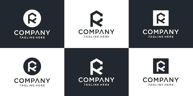 創造的な抽象的なモノグラム文字rcロゴデザインのインスピレーションのセット