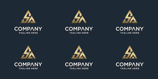 창의적인 추상 모노그램 문자 sa 로고 템플릿 집합입니다. 고급스럽고 우아하고 단순한 비즈니스 로고