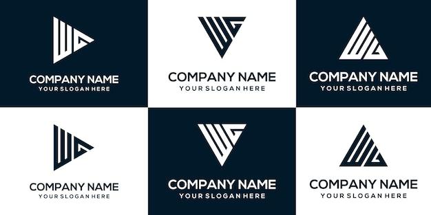 Набор творческих абстрактных вензелей письмо wg шаблон дизайна логотипа