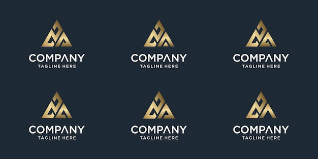 창의적인 추상 모노그램 문자 za 로고 템플릿 집합입니다. 고급스럽고 우아하고 단순한 비즈니스 로고