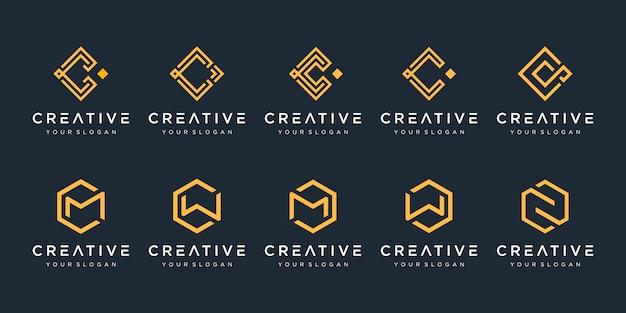 創造的な抽象的なモノグラムのロゴデザインテンプレートのセット。ラグジュアリー、エレガント、シンプルなビジネスのためのロゴタイプ。文字c、文字m。