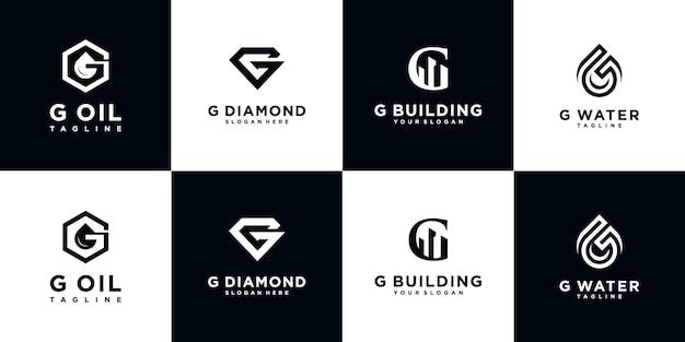 創造的な抽象的なモノグラムロゴデザインテンプレートのセット。豪華、エレガント、シンプルなビジネスのためのロゴタイプ。文字g