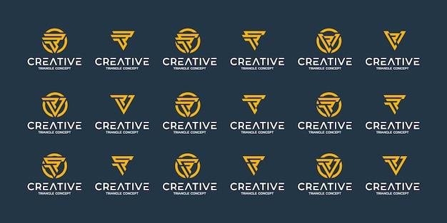 創造的な抽象的なモノグラムロゴデザインテンプレートのセットです。贅沢、エレガント、シンプルなビジネスのためのロゴタイプ。三角形の概念
