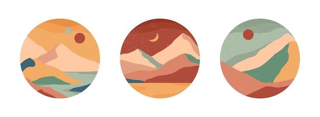 創造的な抽象的な山の風景と山脈の丸いアイコンのセット。物語のためのトレンディなテンプレート。手描きの山、海または砂漠、空、太陽、月と世紀半ばのモダンなベクトルイラスト。
