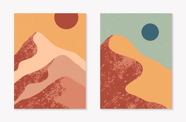 Набор творческих абстрактных горных пейзажных фонов. современные векторные иллюстрации середины века с горами или пустынными дюнами; небо, солнце или луна. модный современный дизайн. футуристический декор стен.