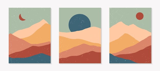 Набор творческих абстрактных горных пейзажных фонов